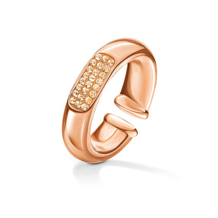 Awe Rose Gold Plated Champagne Crystal Stone Ring, , hires