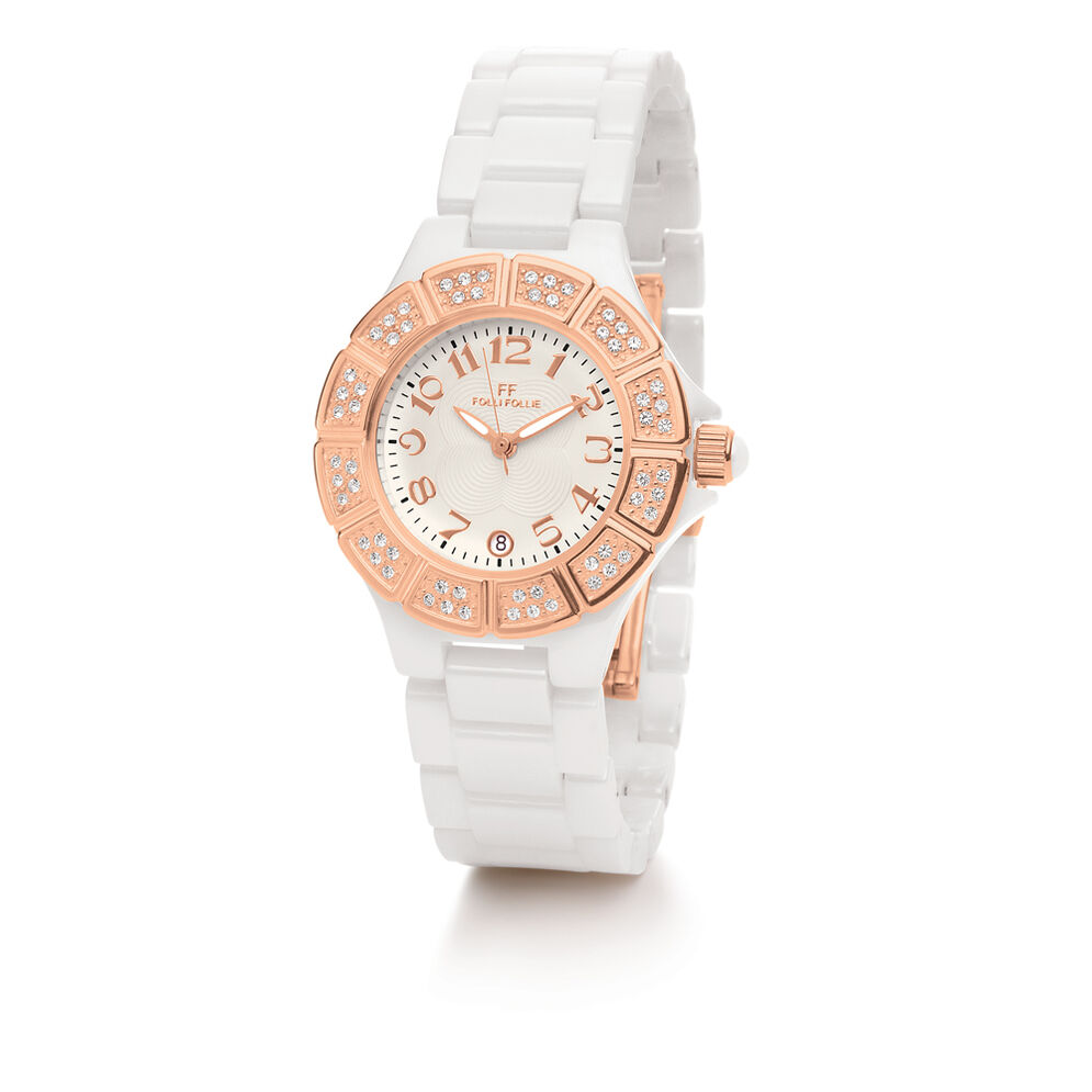 Dorian Ceramic Watch, Bracelet White, hires
