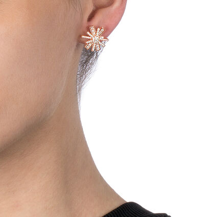 Star Flower Rose Gold Plated Stud Earrings, , hires