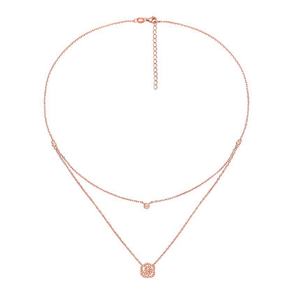 Fashionably Silver Stories Rose Gold Plated Short Necklace, , hires