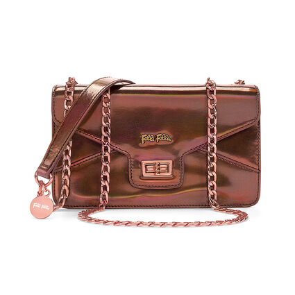 Metallic Love Detachable Chain Strap Shoulder Bag, Brown, hires
