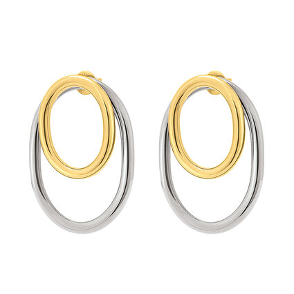 Metal Chic Silver and Light Yellow Gold Plated Διπλά Σκουλαρίκια, , hires