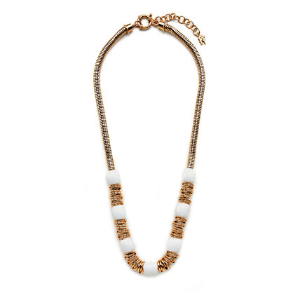Aegean Breeze Rose Gold Plated White Crystal Stone Necklace, , hires