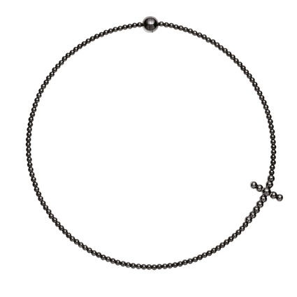 Carma Beads Black Plated Choker Necklace, , hires