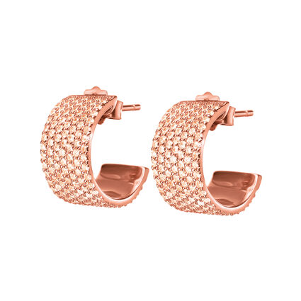 Fashionably Silver Essentials Rose Gold Plated Short Earrings, , hires