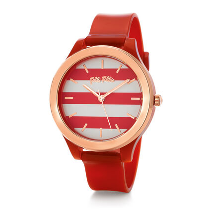 Club Riviera Medium Case Plastic Watch , Red, hires