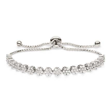 Fashionably Silver Stories Rhodium Plated Adjustable Bracelet, , hires