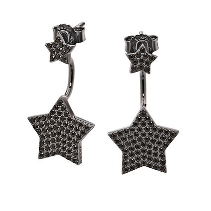Fashionably Silver Stories Black Rhodium Plated Earrings, , hires