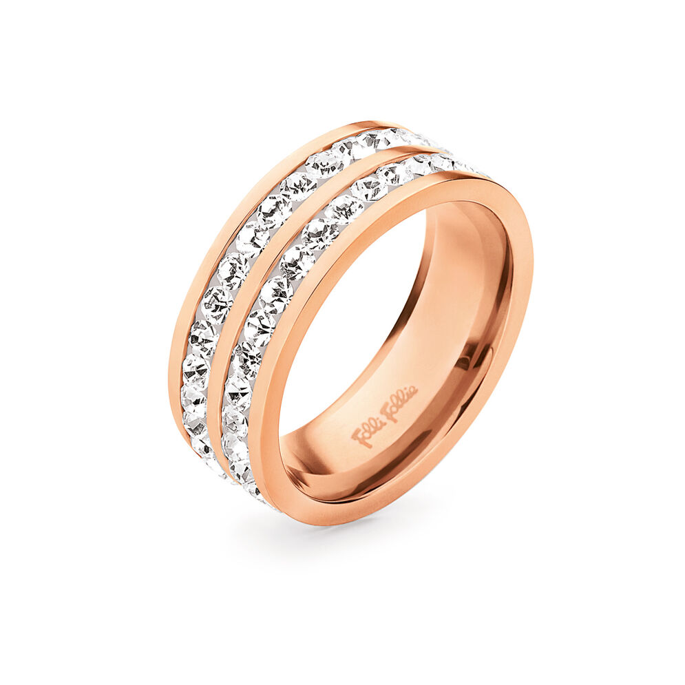 Classy Rose Gold Platted Clear Crystal Stone Wide Band Ring, , hires