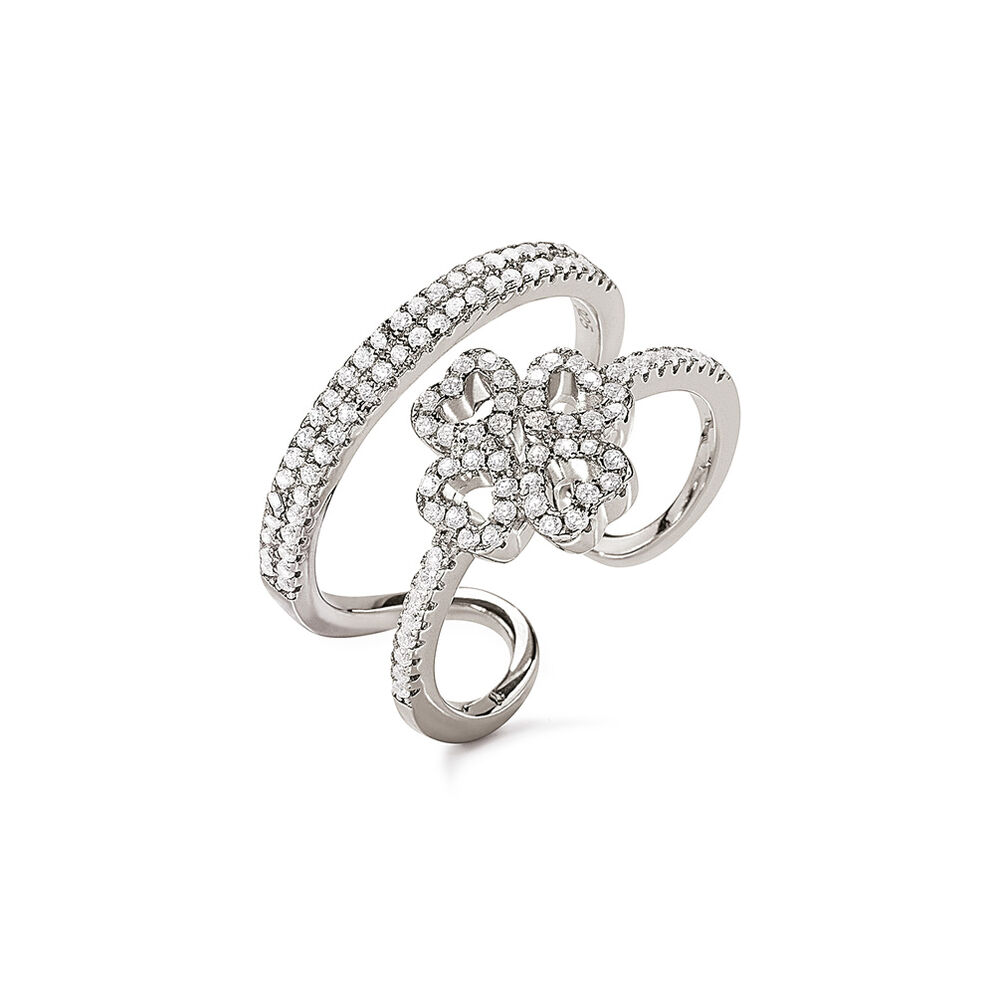 Miss Heart4Heart Rhodium Plated Double Ring, , hires