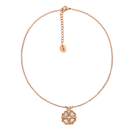 Heart4Heart Floating Rose Gold Plated Μικρό Μοτίφ Κοντό Κολιέ , , hires
