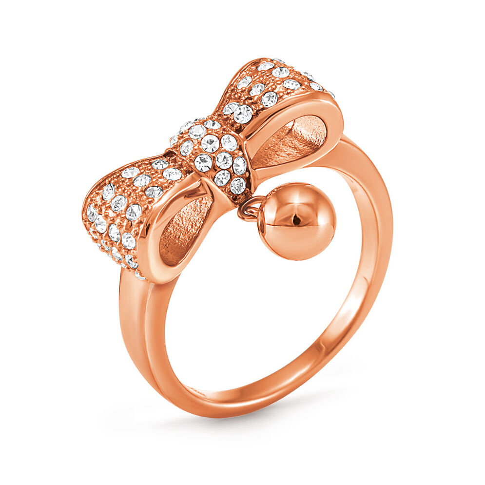 Bow Rose Gold Plated Stone Ring, , hires