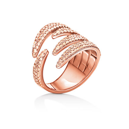 Fashionably Silver Temptation Rose Gold Plated Stone Ring, , hires