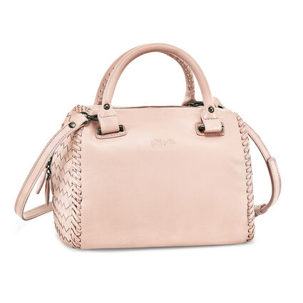 Twist Together Deatchable Long Strap Braided Trim Leather Handbag, Pink, hires