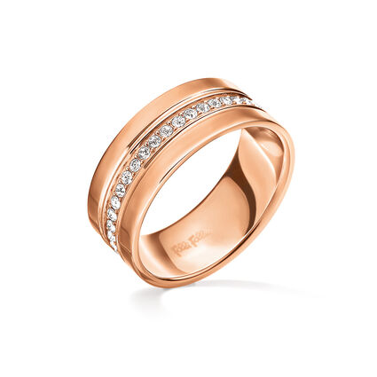 Touch Rose Gold Plated Wide Band Ring, , hires