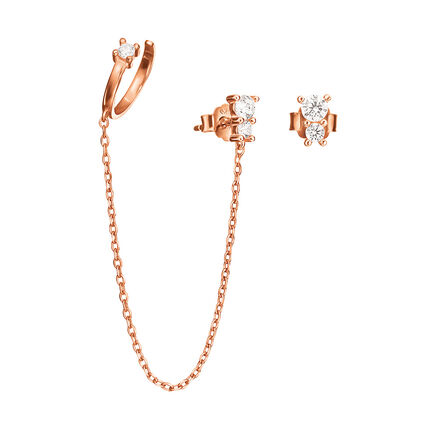 Fashionably Silver Essentials Rose Gold Plated Σκουλαρίκια, , hires