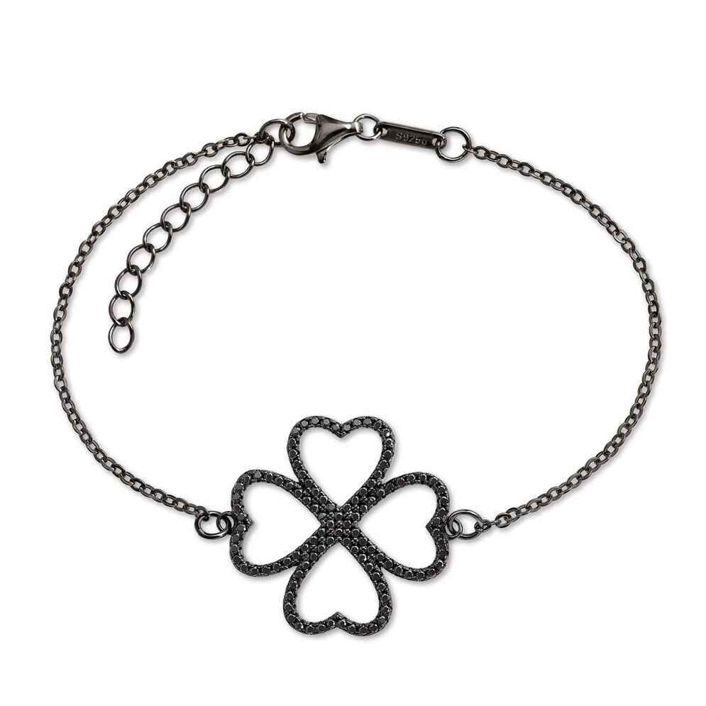 Fashionably Silver Heart4Heart Black Rhodium Plated Bracelet, , hires