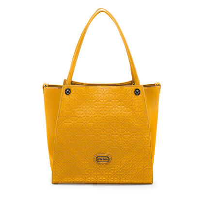 Heart4Heart Sweetheart Embossed Tote Shoulder Bag with Detachable Inner Pouch, Yellow, hires