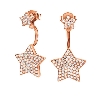 Fashionably Silver Stories Rose Gold Plated Stone Earrings, , hires
