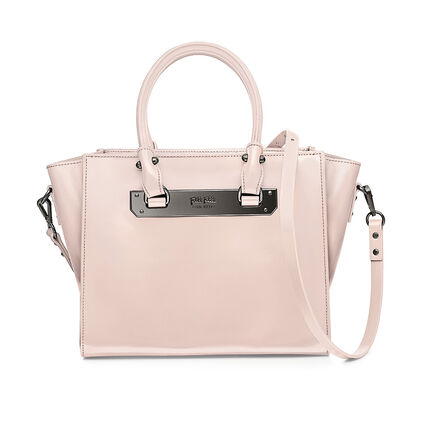 Style Code Detachable Long Strap Leather Handbag, Pink, hires