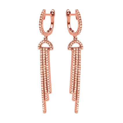 Fashionably Silver Temptation Rose Gold Plated Μακριά Σκουλαρίκια, , hires