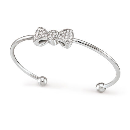 Bow Silver Plated Stone Cuff Bracelet , , hires
