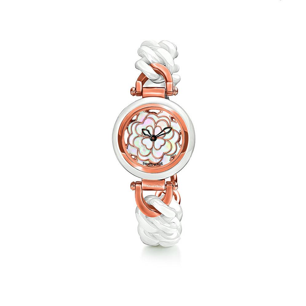 Santorini Flower Watch, Bracelet White, hires