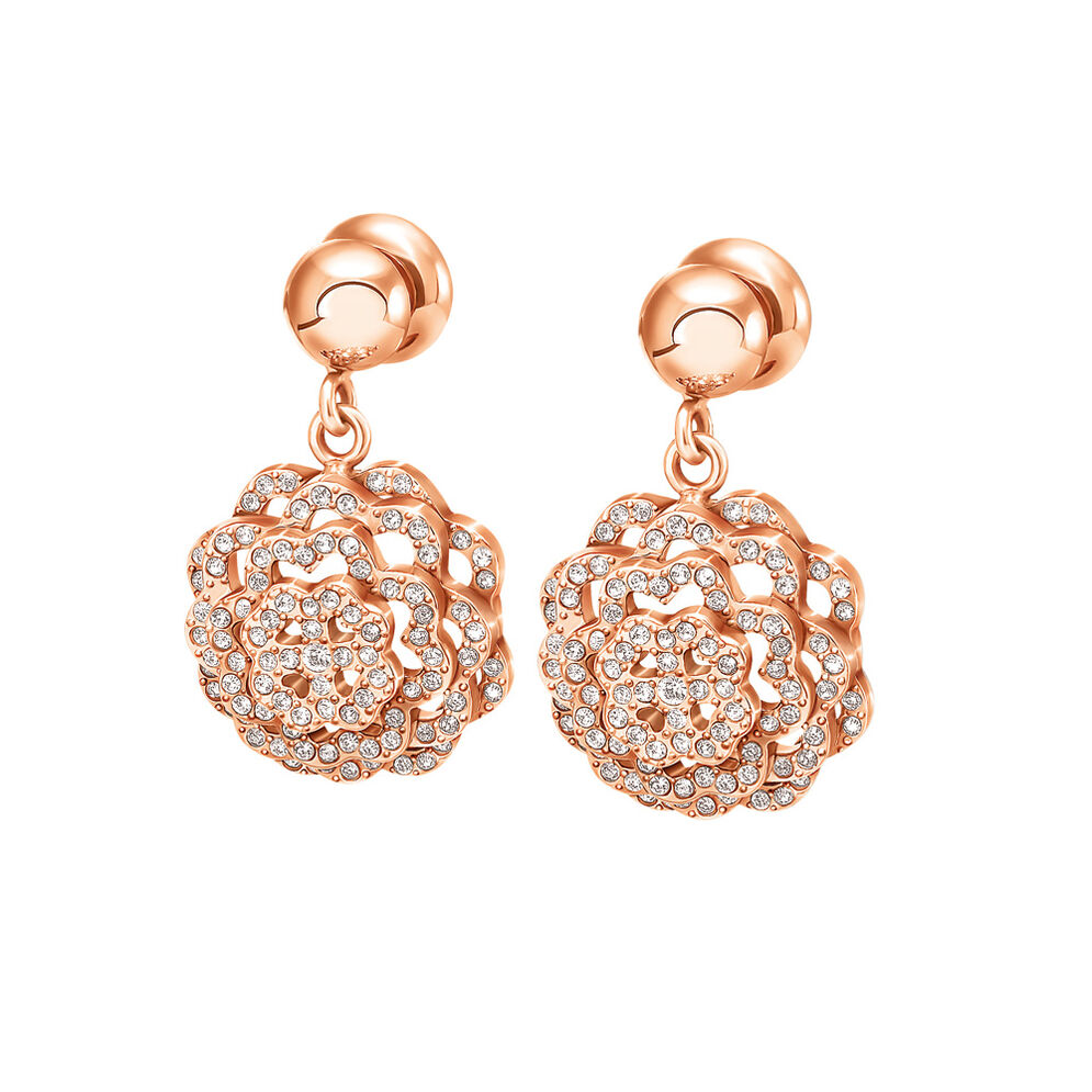 Santorini Flower Rose Gold Plated Small Stone Earrings, , hires