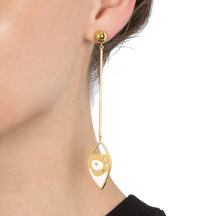 FF Talisman Yellow Gold Plated Long Earrings, , hires