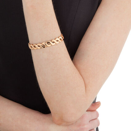 Apeiron Rose Gold Plated Thick Plait Cuff Bracelet, , hires