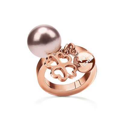 Pearl Muse Rose Gold Plated Ροζ Πέρλα Κρεμαστά Μοτίφ Δαχτυλίδι, , hires