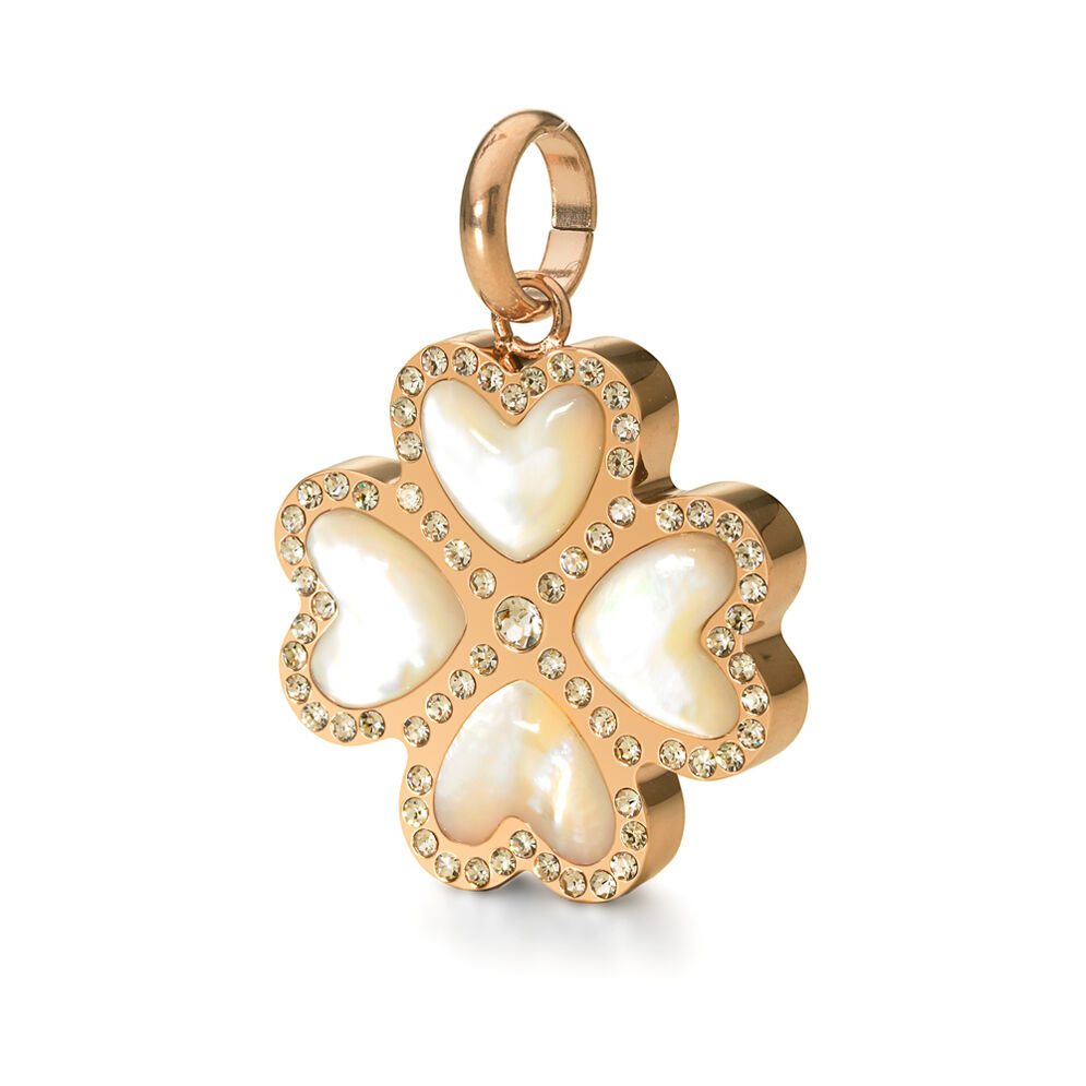 Follie Di Fiori Rose Gold Plated Mother Of Pearl & Clear Crystal Stone Pendant, , hires