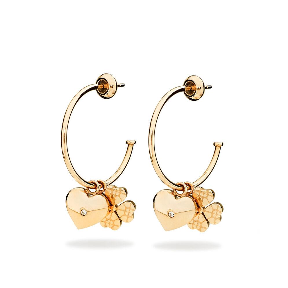Heart4Heart Sweetheart Rose Gold Plated Hoop Earrings, , hires