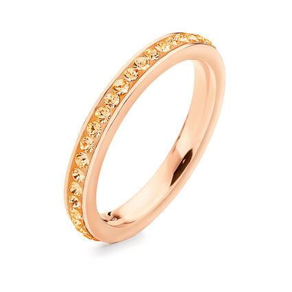 Match & Dazzle Rose Gold Plated Champaign Crystal Stone Slim Band Ring, , hires