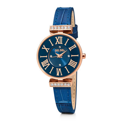 Dynasty Small Case Leather Watch, Blue, hires