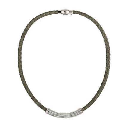 Dazzling Silver Plated Gray Chocker Necklace, , hires