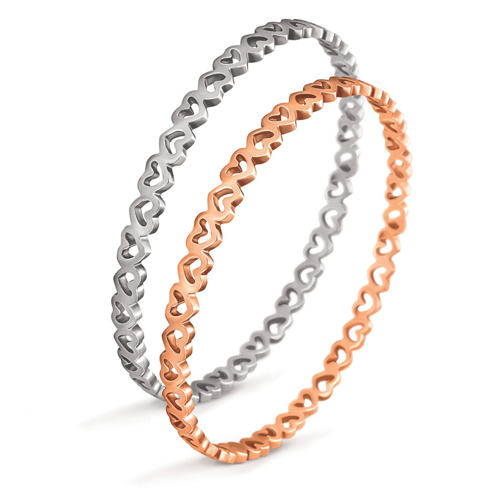Love and Fortune Silver and Rose Gold Plated Μεγάλη Διάμετρος Σετ Σταθερό Βραχιόλι, , hires