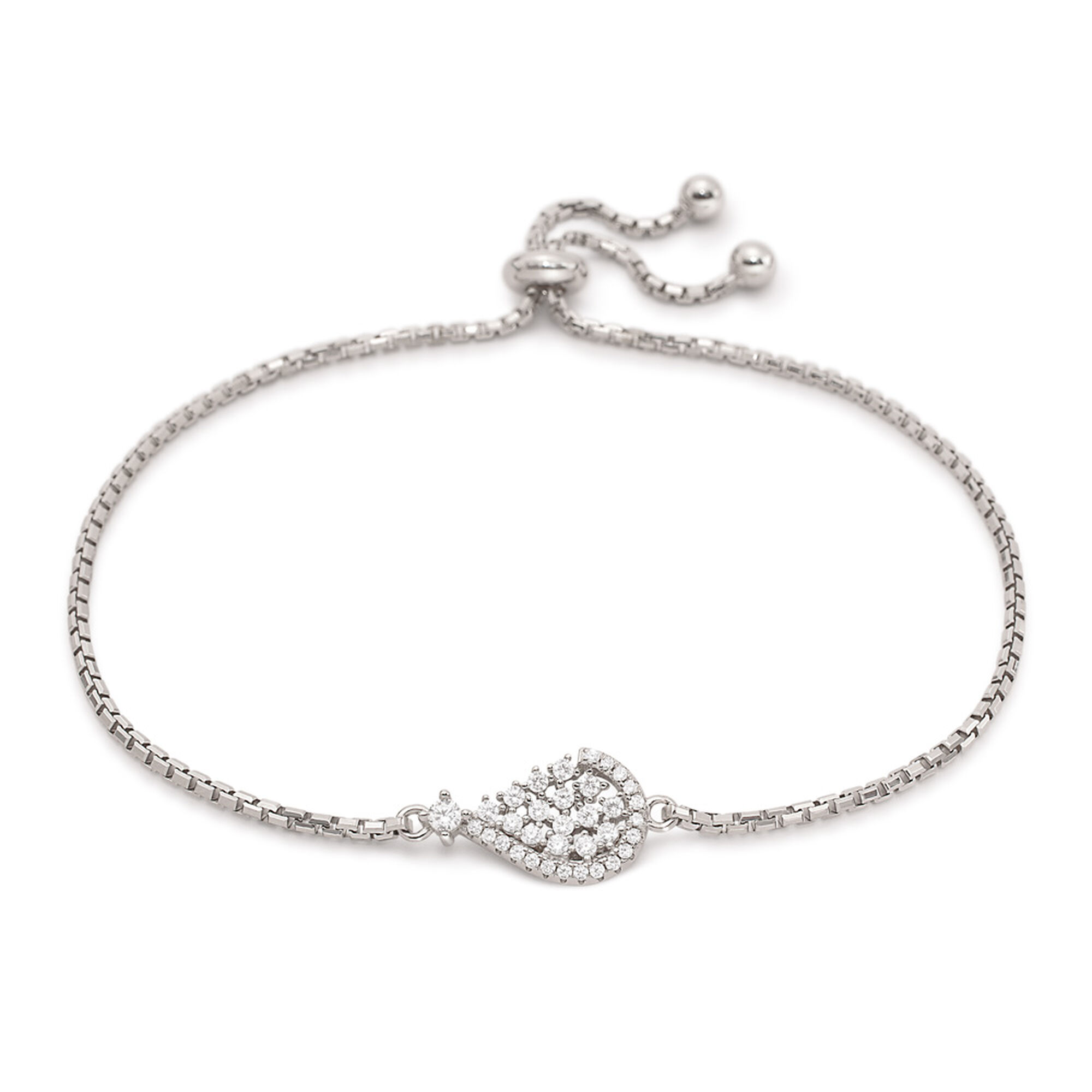 Folli Follie Sparkle Chic Rhodium Plated Bracelet 3B17S038C