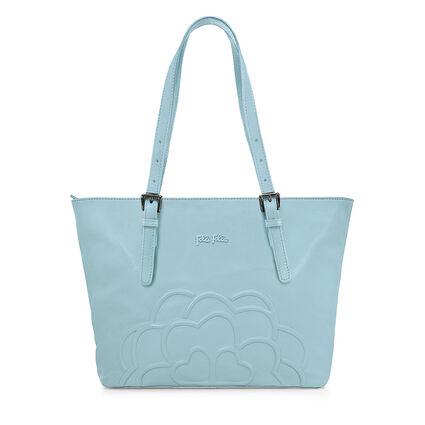 Santorini Flower Leather Shoulder Bag, Blue, hires