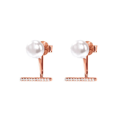 Acro Balance Rose Gold Plated Short Earrings, , hires