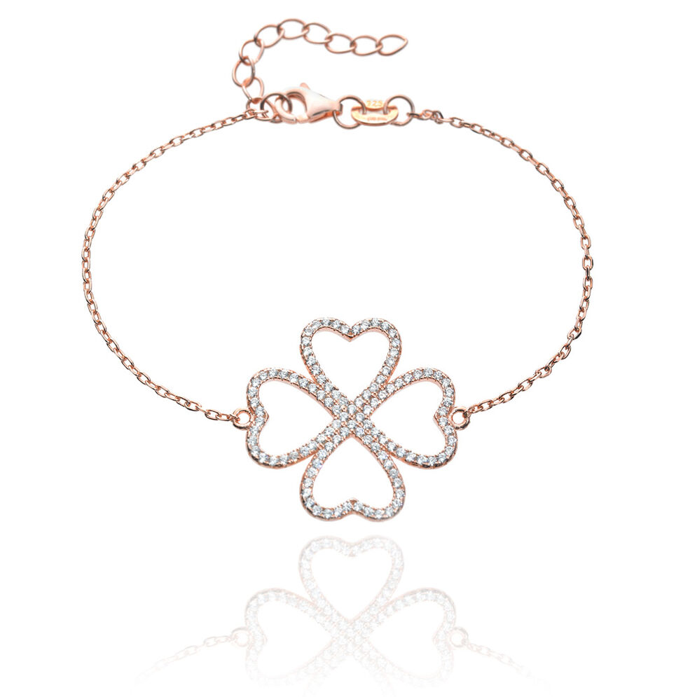 Fashionably Silver Heart4Heart Rose Gold Plated Βραχιόλι, , hires