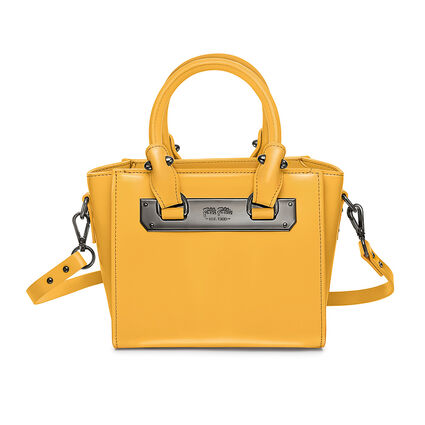 Style Code Mini Detachable Long Strap Leather Handbag, Yellow, hires