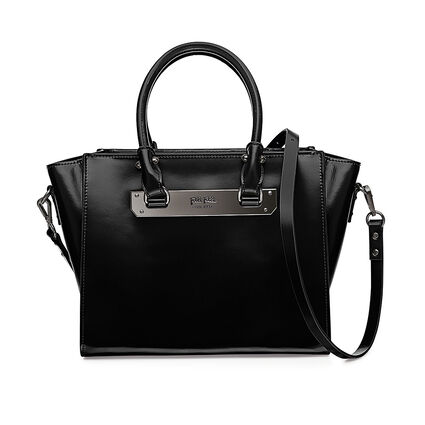 Style Code Detachable Long Strap Leather Handbag, Black, hires