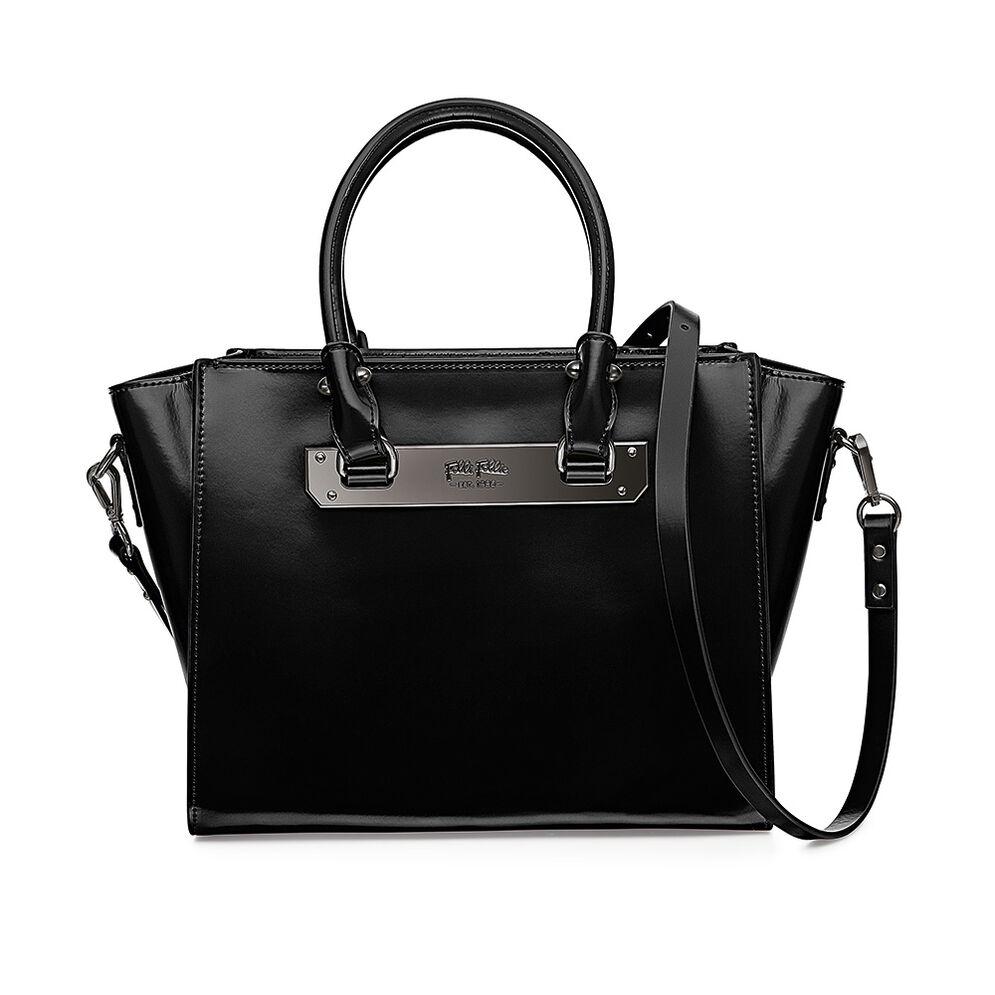 Style Code Detachable Long Strap Leather Handbag, Black, hires