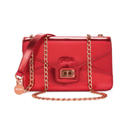 Metallic Love Detachable Chain Strap Shoulder Bag, Red, hires
