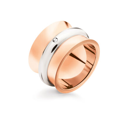 Dazzling Rose Gold Plated Wide Band Ring, , hires