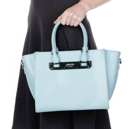 Style Code Detachable Long Strap Leather Handbag, Blue, hires