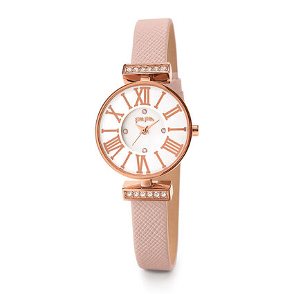 Mini Dynastry Rose Gold Plated Leather Watch , Pink, hires