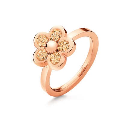 Follie Di Fiori Rose Gold Pated Champaign Crystal Stone Ring , , hires