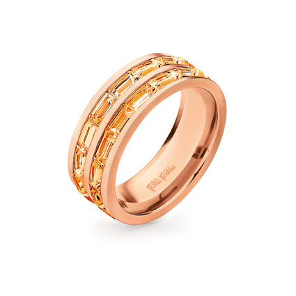 Classy Rose Gold Platted Square Crystal Stone Wide Band Ring, , hires